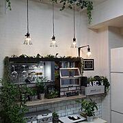 手作りライト/フェイクグリーン/キッチンカウンター/ダイソー/セリア/カフェ風…などのインテリア実例
