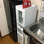 一人暮らし/1K/食器棚/隙間収納/炊飯器台/ケトル…などのインテリア実例