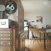 キッチンカウンター/すっきり暮らす。/DK/食器棚/DIY/セリア…などのインテリア実例