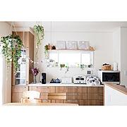 キッチン小窓/アラジントースター/バリスタ/カウニステ/マリメッコ/lifart……などのインテリア実例