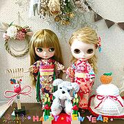 着物/ミニチュアサンダル/スワッグ♡/kotonaちゃんの編みぐるみ♡/編み編み鏡餅…などのインテリア実例
