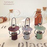 handmade/ランタン/ミニチュアランタン/革/豆電球で…/My Desk…などのインテリア実例