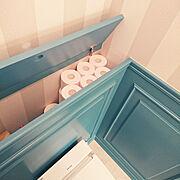モールディング/LIXILトイレ/造作棚/腰壁/平屋/○○のストック場所…などのインテリア実例