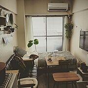 壁に付けられる家具/賃貸/縦長部屋/有孔ボード/1K/1k 1人暮らし女性…などのインテリア実例