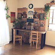 机DIY/窓枠DIY/椅子作った❤︎/My Desk…などのインテリア実例
