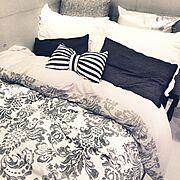 ベッド/シンプル/モノトーン/ボーダー/フランフラン/コンクリート打ちっぱなし…などのインテリア実例