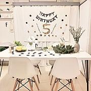 誕生日会シミュレーション/誕生日飾り付け/子供誕生日/ドライ/ユーカリドライ/IKEA…などのインテリア実例