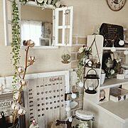 Bedroom/万年カレンダー/salut!/LEDライト/コットンフラワー/コットンツリー…などのインテリア実例