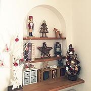 トナカイさん/セリア/ニッチ/まつぼっくりツリー/クリスマスツリー/枝ツリー…などのインテリア実例