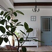 観葉植物のある暮らし/窓枠/IKEA/テレビボード/リビングドア/無垢の床…などのインテリア実例