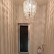 ダスマスク柄/ストライプの壁紙/DALTON タオルハンガー/フランフラン照明/シャンデリア…などのインテリア実例