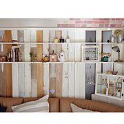 MW/ウォールステッカー/salut!/カフェ風/板壁/DIY棚…などのインテリア実例