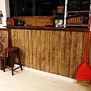 ブライワックス/観葉植物/男前/男前化にしたい/キッチンカウンター/板壁…などのインテリア実例