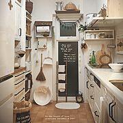 ダイソー木材のラダーは布巾掛け/野田琺瑯タライ/使いやすいキッチンを目指して!/Kitchen…などのインテリア実例