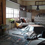 快適生活館/いいね フォローありがとうございます❤/男前/コンクリート風/ニトリ…などのインテリア実例