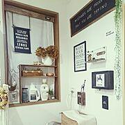 あじさいドライ/リース/黒板/洗面所/多肉植物/洗濯機周り…などのインテリア実例