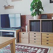 RIKI Clock/レムノス時計/観葉植物のある暮らし/ウンべラータ/幾何学模様…などのインテリア実例