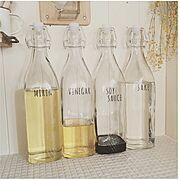 ダイソー/セリア/1ℓ瓶/液体調味料入れ/Kitchen…などのインテリア実例