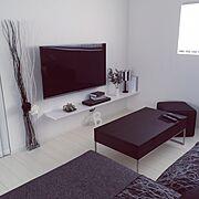 リメイク/グリーン/IKEA/平屋/コーヒーテーブル/ブランケット…などのインテリア実例