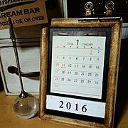 2016年カレンダー/端材/卓上カレンダー/フォトフレームリメイク/My Desk…などのインテリア実例