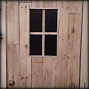 ドア/ダイソー木材/団地部/団地/壁紙/古材風壁紙…などのインテリア実例