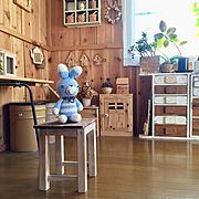 編み物/100均リメイク/のほほん日和☆/木箱DIY/DIY/板壁DIY…などのインテリア実例