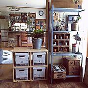My Desk/インスタお休み中/DIY棚/セリア/いなざうるす屋さん/観葉植物…などのインテリア実例