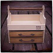 木製トレイM/カッティングボードリメイク/引き出し付きおかもち風ボックス/セリア…などのインテリア実例