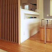 格子スクリーン/DIY/無垢の床/漆喰壁DIY/Overview…などのインテリア実例