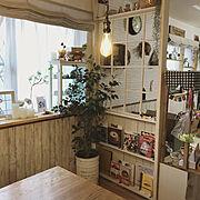 本棚DIY/壁紙屋本舗/雑貨/79組/エジソンバルブ/こどもと暮らす。…などのインテリア実例