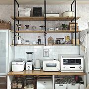 アイアン家具/山善温調ケトル/キッチン棚ディスプレイ/お茶グッズ/キッチン棚DIY/バルミューダ…などのインテリア実例