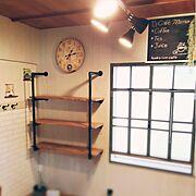 窓 DIY/男前化計画/DIY棚/DIY/ダイニング/パイプウォールラック…などのインテリア実例