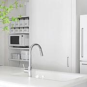 キッチン収納/白黒グレー/シンプルモダン/モノトーンインテリア/さしすせそのインテリア/モノトーン…などのインテリア実例