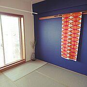 マンションインテリア/ホスクリーン/エアフープ/物干し/木製ブラインド/DIY…などのインテリア実例