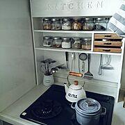 調味料棚/狭小マイホーム/100均で充分/廃材DIY/白が好き♡/seria…などのインテリア実例