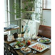 食卓/食器/ドウダンツツジ/テーブルコーディネート/おうちごはん/おうちレストラン…などのインテリア実例