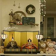 LIXILキッチン/ひな人形/車輪オブジェ/ティンカーベル/ラベンダードライ/あじさいドライ…などのインテリア実例
