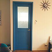 磨りガラス/レトロ/真鍮ドアノブ/造作ドア/Lounge…などのインテリア実例