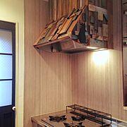 換気扇リメイク/コンロ周り/扉DIY/キッチンリフォーム/Kitchen…などのインテリア実例