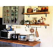 スペイン漆喰/漆喰壁/四角い家/小さなお家/1969組/ikeaの食器棚…などのインテリア実例
