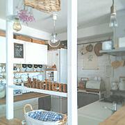アルファベットオブジェ/イベント用/DIYでお部屋作り/白×木が好き/キッチンカウンター天板DIY…などのインテリア実例