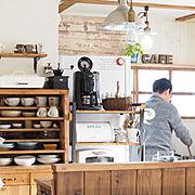 カフェ風キッチン♡/カウンターDIY/カフェ風インテリア/うつわと暮らす/おうちカフェ…などのインテリア実例
