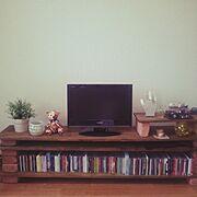 CD 収納/レンガ/大きいTVが欲しい/テレビボードDIY/手作り/一人暮らし…などのインテリア実例