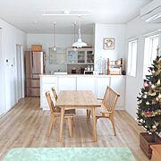 北欧ナチュラル/グリーンのラグ/BIRDS' WORDS/ニトリ/クリスマスツリー180cm/すっきり暮らしたい…などのインテリア実例