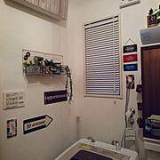 フェイクグリーン/脱衣場/セリア/マステ/Bathroom…などのインテリア実例