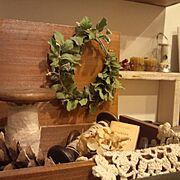 古いもの/糸巻き/ミモザのリース/My Shelf…などのインテリア実例