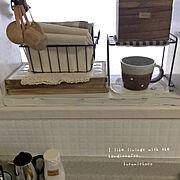 ランチクロス/ランチョンマット/タイルトレー手作り/作家さんの器/カインズホーム/キッチンカウンター…などのインテリア実例