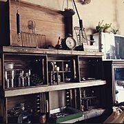 サビ雑貨/足場板/木箱/雑貨/古道具/賃貸…などのインテリア実例