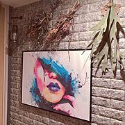 アートのある部屋/ドライフラワー/フェイクグリーン/雑貨/スワッグ/Entrance…などのインテリア実例