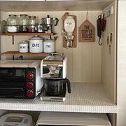 アンティーク/コーヒーミル/トースター/コーヒーメーカー/デロンギ/山善電気グリル鍋モニター応募…などのインテリア実例